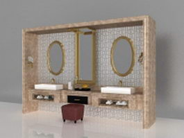 Luxury bathroom vanity furniture 3d model