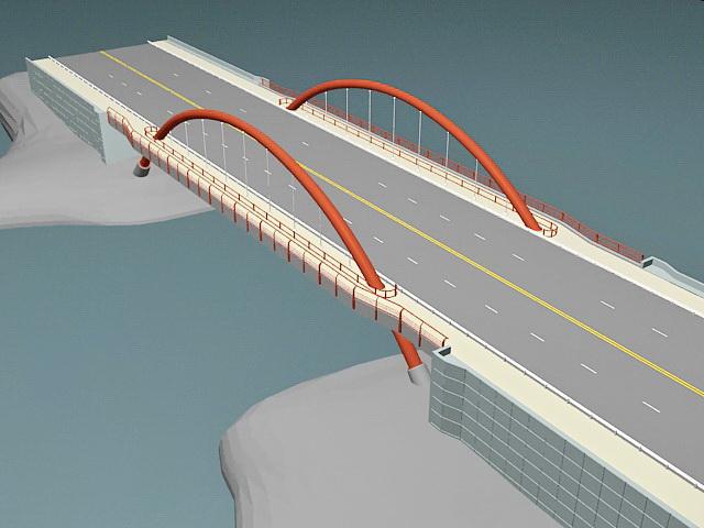 Tied Arch Bridge 3d Model 3d Studio 3ds Max Files Free