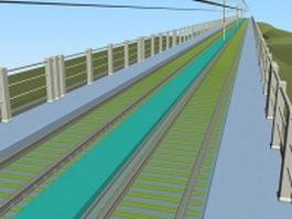 Double track railway bridge 3d model