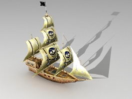 Wooden pirate ship 3d model