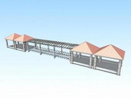 Park pavilion pergola structures 3d model
