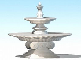 Cast stone fountain 3d model