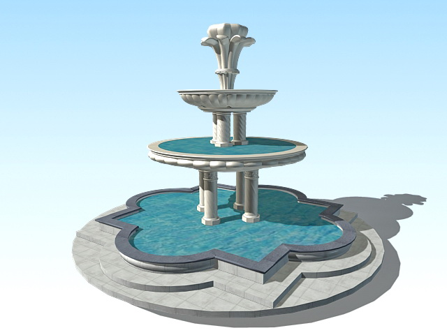 Large Outdoor Water Fountain 3d Model 3ds Max Files Free