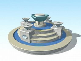 Large garden fountain 3d model