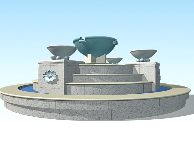 Large garden fountain 3d model 3ds max files free download for Garden design in 3ds max