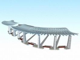 Landscape plaza canopy 3d model