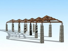 Pergola walkway design 3d model