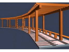 Walkway pergola with seat 3d model