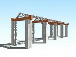 Pergola covered walkway 3d model