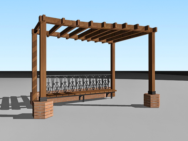 Garden pergola with bench 3d model 3ds max files free for Garden design in 3ds max