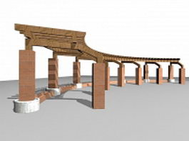 Pergola with brick pillars 3d model