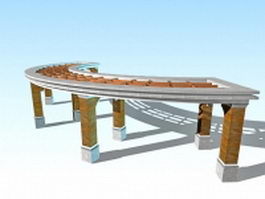 Curved walkway pergola 3d model