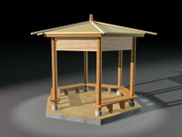 Backyard wooden gazebo 3d model