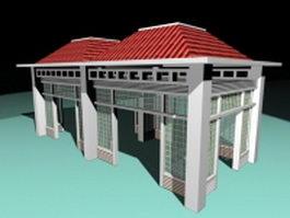 Screened pavilion 3d model