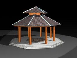 Octagon double roof gazebo 3d model