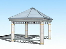 Glass top square gazebo 3d model