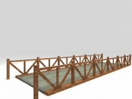 Concrete pond bridge 3d model