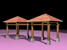 Linked shade gazebo 3d model