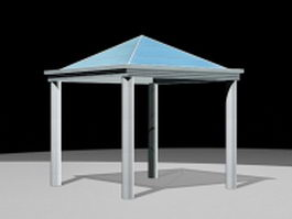 Metal glass gazebo 3d model