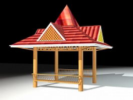 Asian style gazebo 3d model