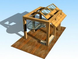 Wooden patio gazebo 3d model