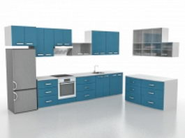 Small L-shaped kitchen design 3d model
