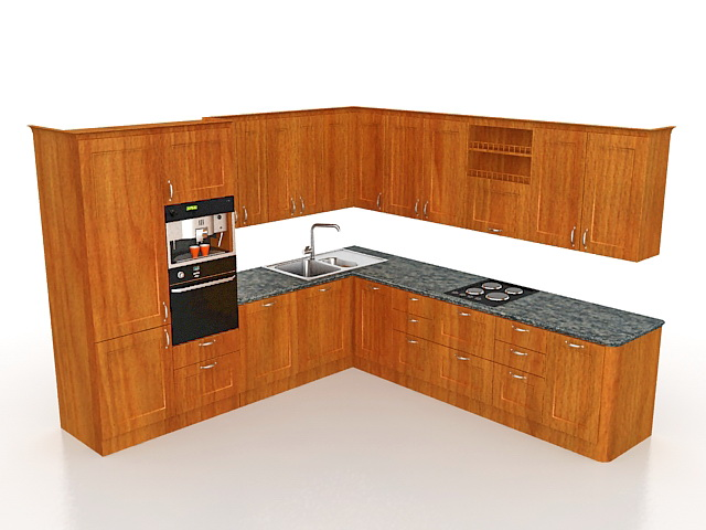 L shaped kitchen cabinets 3d model 3ds max files free for 3d kitchen cabinets