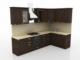 Small L kitchen design 3d model
