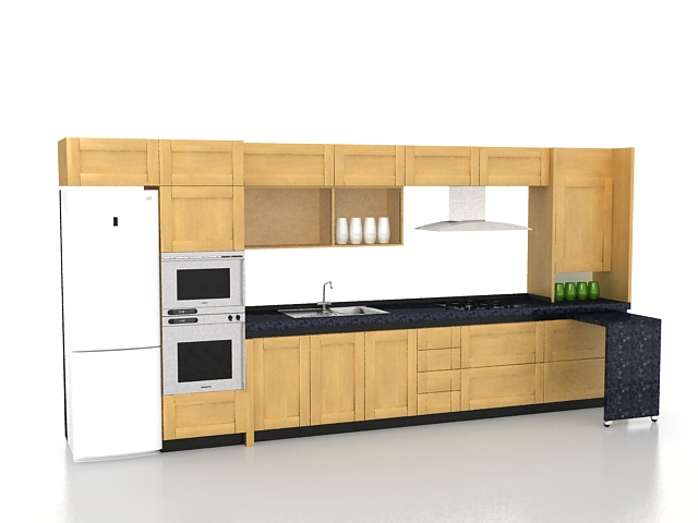 Straight kitchen designs 3d model 3ds max files free for Straight kitchen ideas