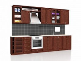 Straight kitchen cabinets design 3d model