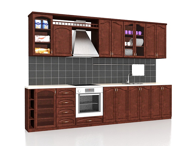 Straight kitchen cabinets design 3d model 3ds max files - Kitchen design software free download 3d ...