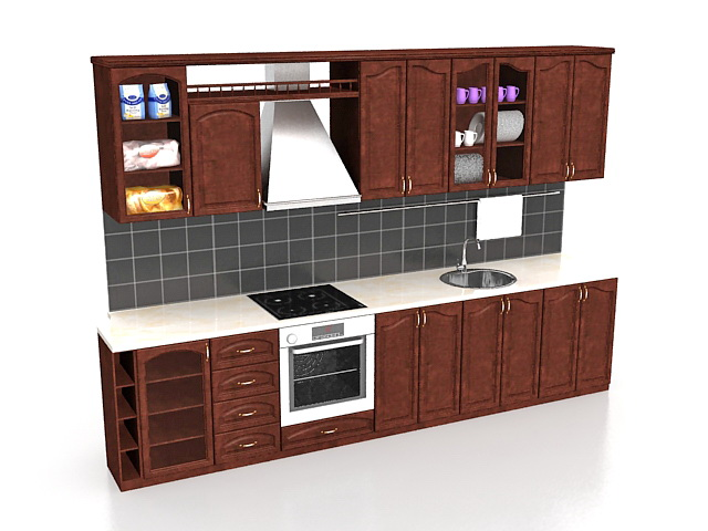 Straight Kitchen Cabinets Design 3d Model 3ds Max Files