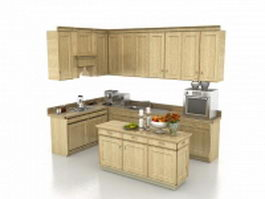 Small L kitchen with island 3d model