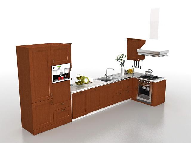 Kitchen cabinets design 3d model 3ds max files free for Kitchen cabinets 3d design