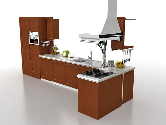 3d Model Of Straight Line Kitchen Design Include Kitchen Cabinet Tall Cabinet Sink Oven Cooking Stove Range Hood And Kitchen Utensils