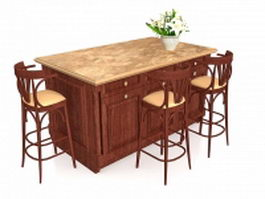 Kitchen islands with seating 3d model