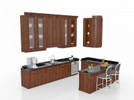 U-shaped kitchen with seating 3d model