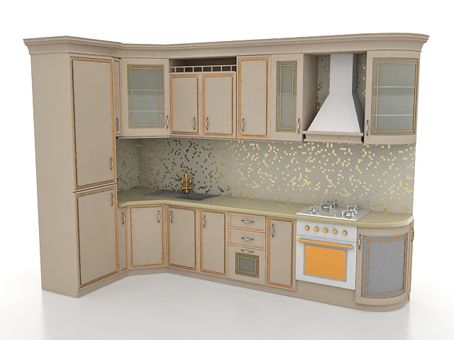 Small L Shaped Kitchen Designs 3d Model