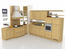 L shaped rustic kitchen design 3d model