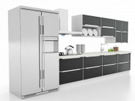 Black kitchen cabinets 3d model