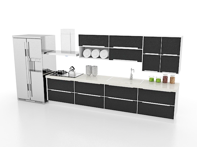 3d Model Of Black Straight Line Kitchen Design With Textures And Materials Include Kitchen Cabinet Wall Cabinet Sink Stove Refrigerator Range Hood And