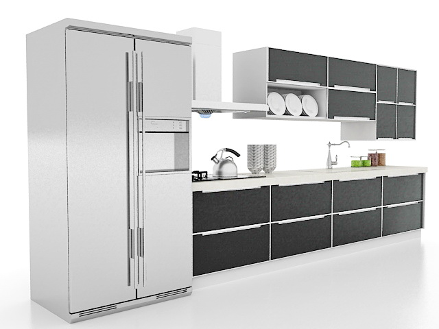 Black kitchen cabinets 3d model 3ds max files free for Kitchen cabinets models