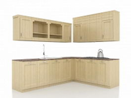 L kitchen cabinets design 3d model