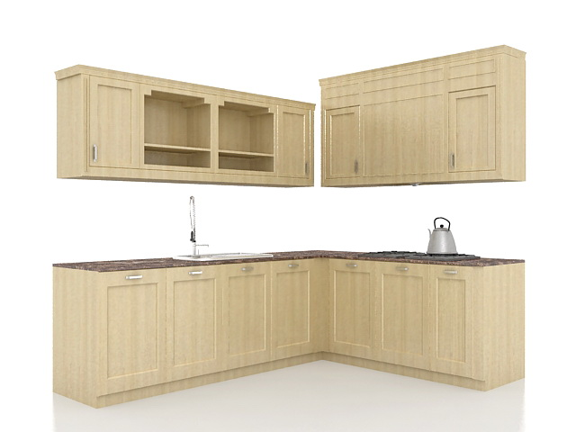 L kitchen cabinets design 3d model 3ds max files free - Kitchen design software free download 3d ...