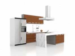 U shaped kitchen with peninsula 3d model
