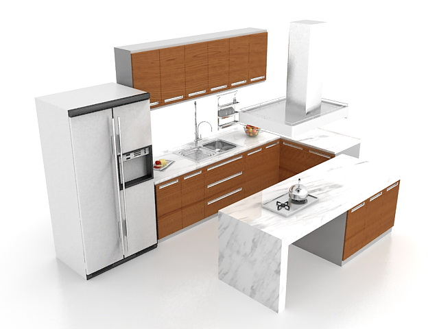 U Shaped Kitchen With Peninsula 3d Model 3ds Max Files Free Download Modeli
