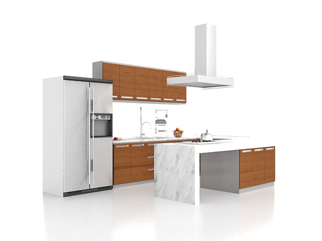 U Shaped Kitchen With Peninsula 3d Model 3ds Max Files