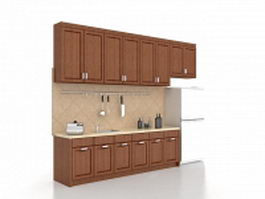 One wall kitchen design 3d model