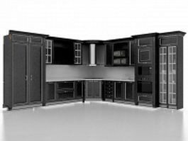 Black kitchen cabinet designs 3d model