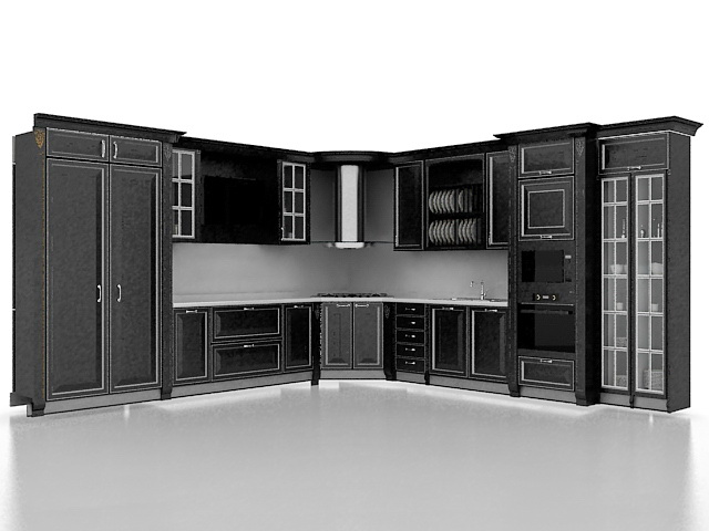 Sensational Black Kitchen Cabinet Designs 3D Model 3Ds Max Files Free Download Free Architecture Designs Scobabritishbridgeorg